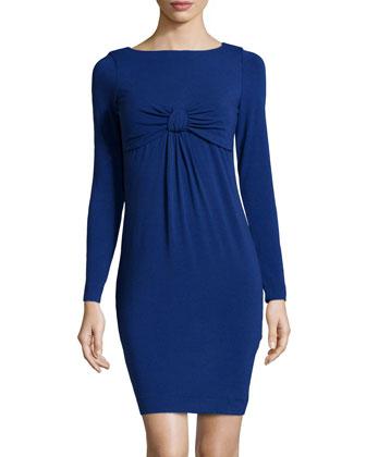 Knit Bow-Detail Dress, Electric Blue