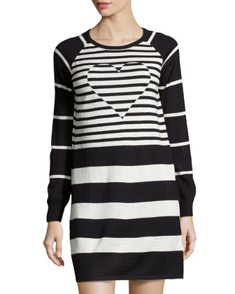 Knit Heart-Inset Striped Dress, Black/White