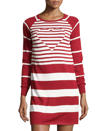 Knit Heart-Inset Striped Dress, Red/White
