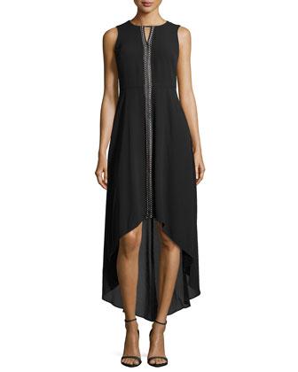 Sleeveless High-Low Knit Maxi Dress, Black