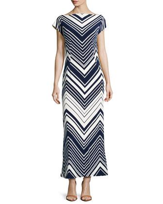 Chevron Cap-Sleeve Maxi Dress, Navy/White