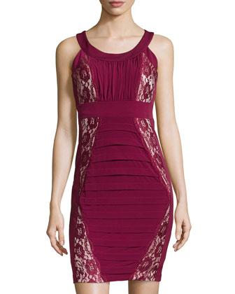 Lace Inset Paneled Sheath Dress, Pinot