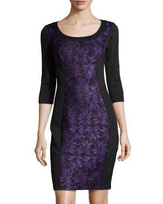 Lace-Paneled Scuba Dress, Black/Purple