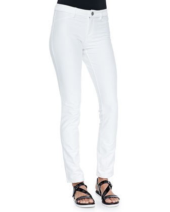Knit Denim Scarlett Pants, White