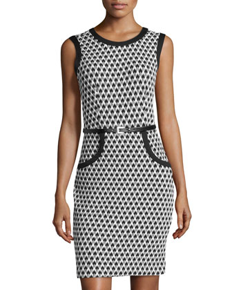 Chevron Matelasse Sheath Dress, Black/Ivory/Gray