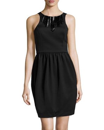 Scuba-Knit Bead-Trim Dress, Black