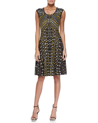 Textural Dots Twirl Dress, Women's