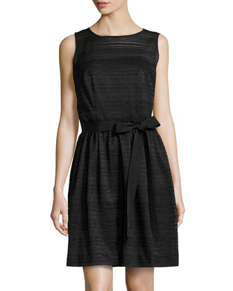 Textured Ribbed Knit Dress, Black