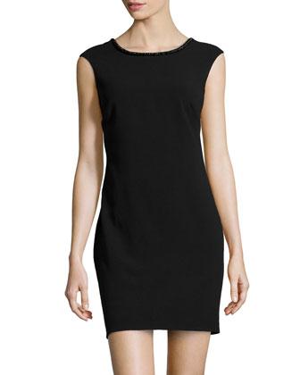 Crepe Bead-Trim Dress, Black