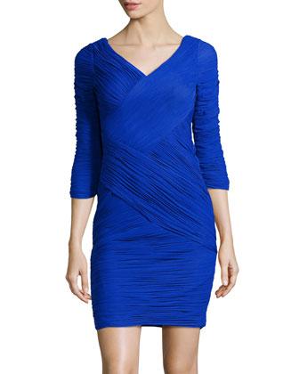 3/4-Sleeve Ruched Mesh Dress, Cobalt