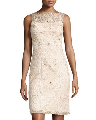 Open-Back Beaded Cocktail Dress