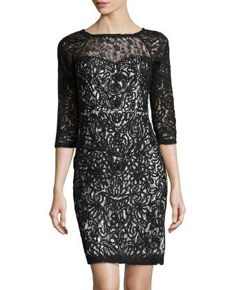 3/4-Sleeve Lace Cocktail Dress, Black/White