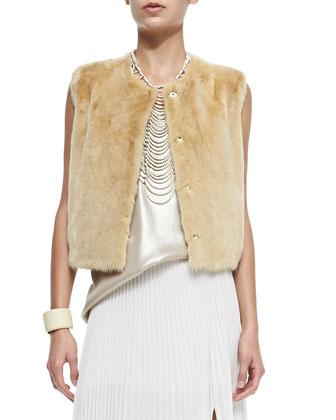 Snap-Front Mink Fur Vest, Custard