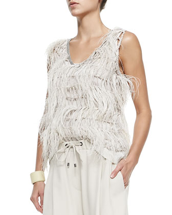 Sleeveless Ostrich Feather Blouse