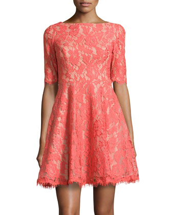 Half-Sleeve Fit-and-Flare Lace Dress, Coral