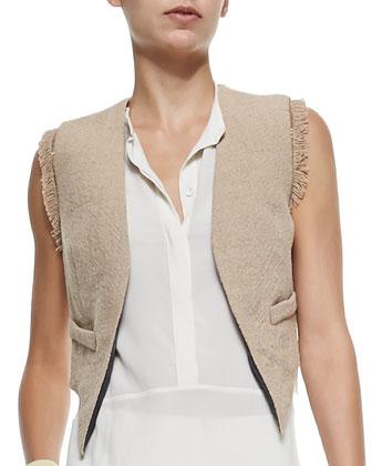 Open-Front Jute Vest w/ Fringe, Fringe-Collar Tank Top, Belted Crepe ...