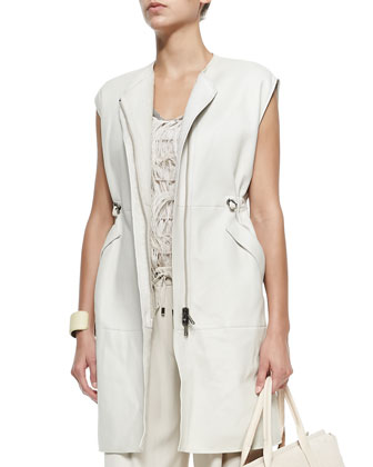Long Velour Shearling Fur Vest, Lam?? Tank with Net Overlay, Belted Crepe ...