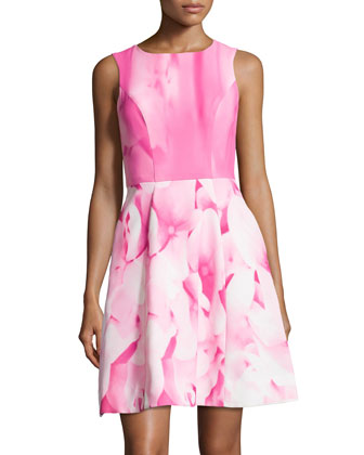 Hydrangea-Print Cocktail Dress, Pink