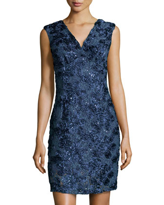Sequined Floral-Soutache Cocktail Dress, Navy