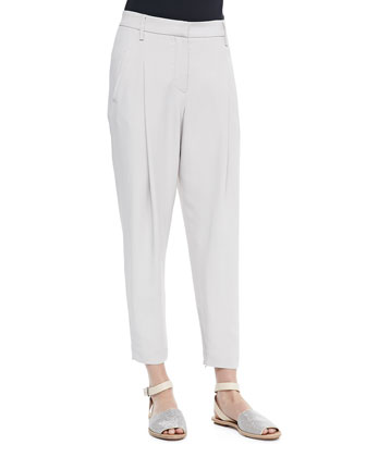 Cropped Pants with Zip Hem