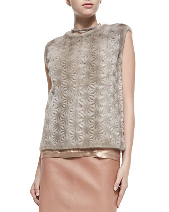 Perforated Flower Mink Fur Top