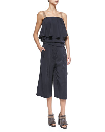 Double-Breasted Vest W/ Ruffled Shoulder & Culottes Jumpsuit with Monili Straps