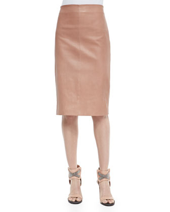 Perforated Flower Mink Fur Top, Lam?? Scoop-Neck Tank, Leather Pencil Skirt ...