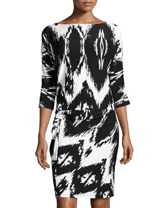 Dolman-Sleeve Zigzag-Print Twist-Knot Dress, Black/White