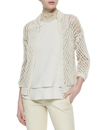 Stripe-Quilted Tech Fabric Vest, Open Weave Zip Cardigan, Layered Silk ...