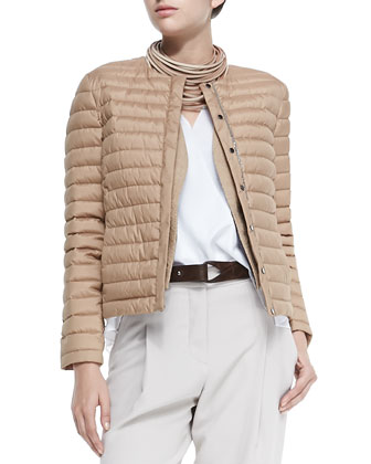 Puffer Jacket with Monili Placket, Open-Front Jute Vest W/ Fringe, ...