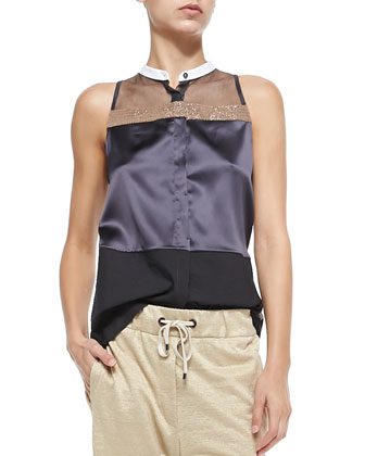 Sleeveless Button-Down Mixed Media Top