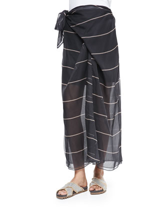 Striped Silk Sarong Skirt
