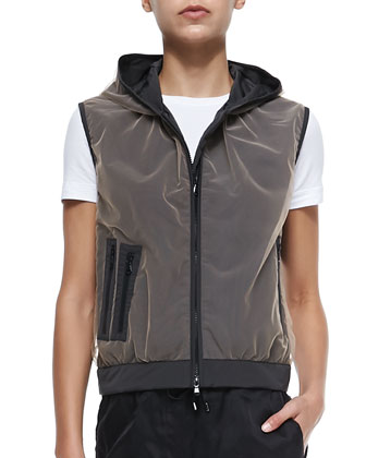 Tulle-Over-Taffeta Vest with Hood, Leather Anorak Vest with Hood, ...