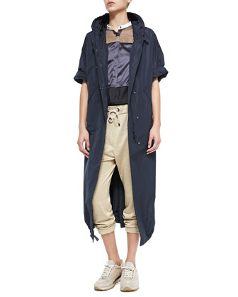 Hooded Drop-Sleeve Taffeta Jacket, Sleeveless Button-Down Mixed Media Top & ...