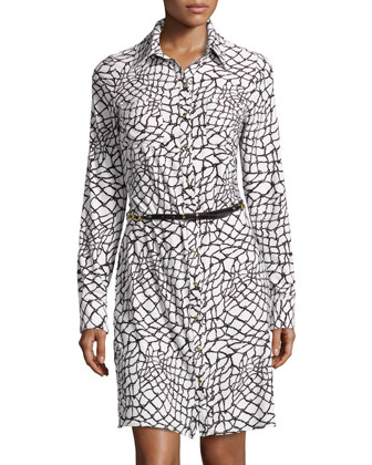 Printed Jersey Belted Shirtdress, Black/White
