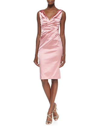 Gobelina Ruched Satin Surplice-Neck Sheath Dress