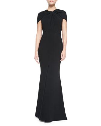 Golatta Draped High-Slit Split-Shoulder Gown