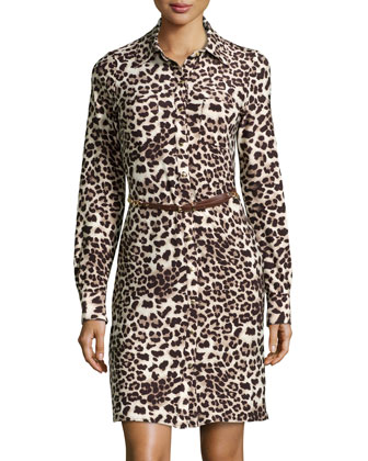 Leopard-Print Jersey Belted Shirtdress, Brown/Multi