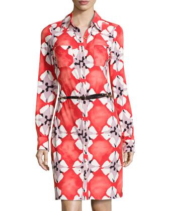 Printed Jersey Belted Shirtdress, Tiki