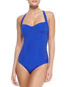 Banded One-Piece W/ Sheer Stripes, Blue