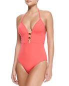Plunging Halter-Neck One-Piece Swimsuit, Lava