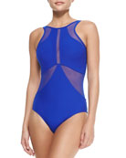 High-Neck One-Piece Swimsuit W/ Mesh Inserts, Oceanic