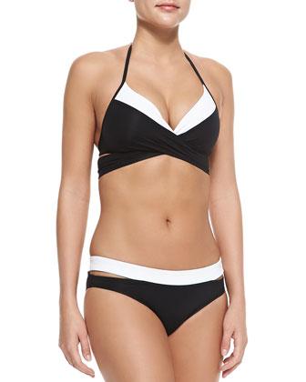 Contrast-Paneled Halter Bikini