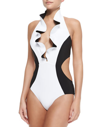 Ruffled Plunge Halter One-Piece Swimsuit