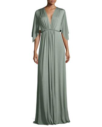 Jersey Maxi Caftan Dress, Comfrey