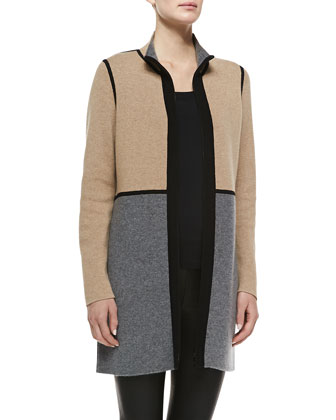 Reversible Cashmere Double-Face Colorblock Coat