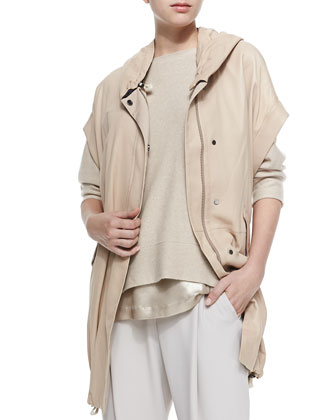 Leather Anorak Vest with Hood, Cashmere 3/4-Sleeve Reversible Sweater, Lam?? ...