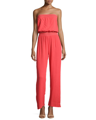 Strapless Voile Jumpsuit, Neon Coral