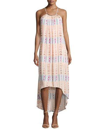 Bar-Detail Printed Maxi Dress, Blush/Multi