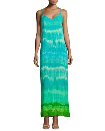 V-Neck Tie-Dye Maxi Dress, Blue/Green